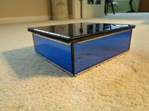 Art Deco Blue Mirrored Jewelry Or Humidor Box