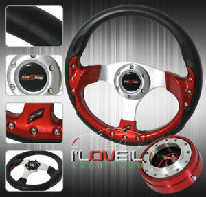 320mm Steering Wheel Combo Kit 1 5 Red Slim Quick Release Jdm Horn Button