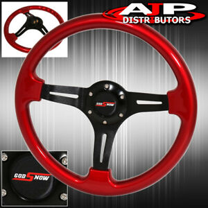 Universal 350mm 6 Bolt Hole Red Steering Wheel 1 75 Inch Deep Dish Godsnow
