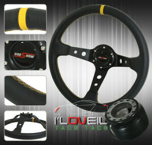 For 1992 1995 Honda Civic Black Leather Deep Dish Concave 3 Spoke Steering Wheel
