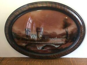 Antique Oval Wood Framed Castle Reverse Painting Convex Bubble Glass Vintage