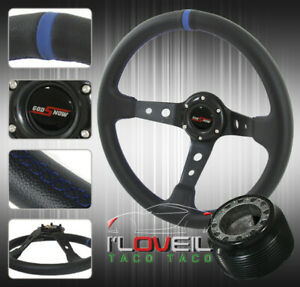 For 92 95 Civic 94 01 Integra 93 97 Del Sol Black Blue Deep Dish Steering Wheel