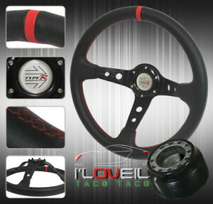 For 92 95 Civic 94 01 Integra 93 97 Del Sol Black Red Leather Steering Wheel