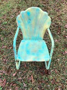 Vintage Ed Warmack Clam Shell Back Metal Child S Chair Dates Back To Late 40 S