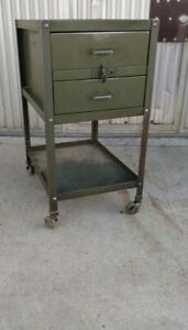 1940 s American Vintage Industrial Double drawer Mobile Factory Cart W Casters