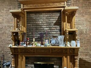 Antique Wood Fireplace Surround
