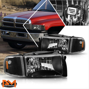 For 94 02 Dodge Ram 1500 3500 Black Housing Headlight Amber Corner Signal Lamps