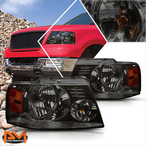 For 04 08 Ford F150 Pickup Smoked Housing Headlight Amber Side Corner Lamps Pair