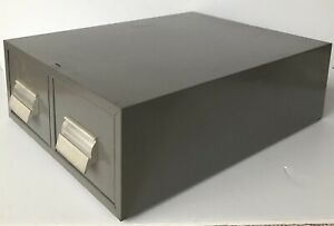 Vintage Two Drawer Index Library Card File Filing Cabinet Industrial Gray Metal
