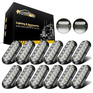 Universal 12x White Round 6leds Waterproof Reverse Light For Truck Trailer Rtv