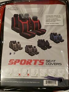 Sports Fabric 2 Row Set Car Seat Covers Red Black Split Bench