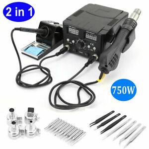 2in1 Smd Soldering Iron Hot Air Rework Station Led Digital Display With 4 Nozzle