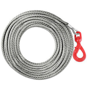 1 2 X 100 Winch Cable With Self Locking Swivel Hook Safety 6600lbs Wire Rope