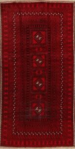 Vintage Geometric Balouch Afghan Wool Area Rug Hand Knotted Oriental Carpet 4x8