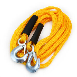 4 500lb 1 X 14 Ft Auto Car Atv Emergency Poly Braid Tow Rope Strap With Hooks