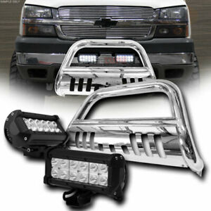 For 02 09 Dodge Ram 1500 Chrome Bull Bar Grill Grille Guard 36w Cree Led Lights