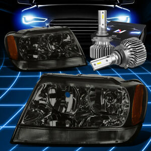 For 1999 2004 Jeep Grand Cherokee Wj Headlight Lamps W Led Kit Slim Style Smoked