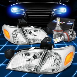 Fit 1997 2005 Chevy Venture Silhouette Headlight Lamps W Led Slim Style Chrome