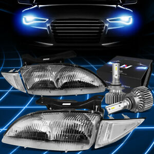 Fit 1995 1999 Chevy Cavalier Factory Style Headlight W led Kit Slim Style Chrome