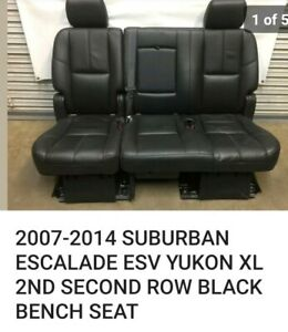 2007 2014 Suburban Escalade Esv Yukon Xl 2nd Second Row Black Lthr Bench Seat