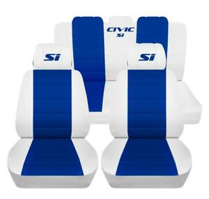 Front And Rear Seat Covers Fits A 2017 Honda Civic Si White And Blue Customized