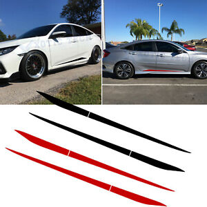 For Honda Civic 2016 2020 Stripe Pre cut Side Door Skirt Decal Sticker Black red