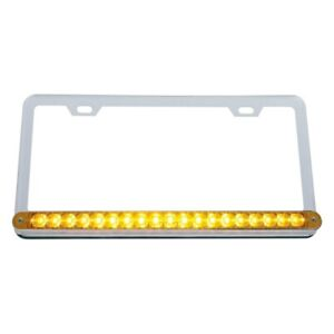 Chrome License Plate Frame W 19 Amber Led 12 Reflector Light Bar