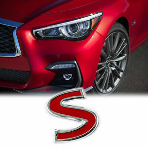 1x Metal Sport Red S Auto Emblem Trunk Lid Side Fender Decal Badge For Infiniti