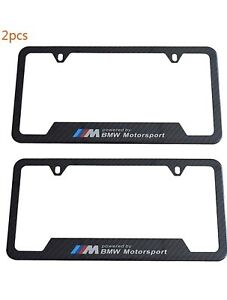 Set Of 2 Bmw License Plate Frame Stainless Steel With Carbon Fiber Finished