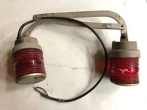 2 Vintage Fire Truck Rear Wig wag Stop Signal Swinging Lights Old Accessory Van