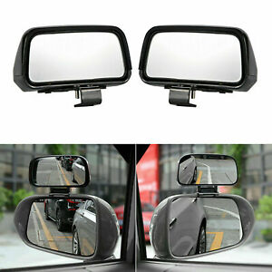2x Abs Rectangle Shape Mirror 360 Angle Adjustable Wide Rear View Blind Spot