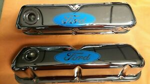 Valve Cover Set Light Blue Ford Logo Small Block Chrome Plated 260 302 351w 289
