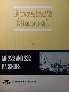 Massey Ferguson Tractor Backhoe Implement Attachment Mf 222 Mf 232 Owners Manual