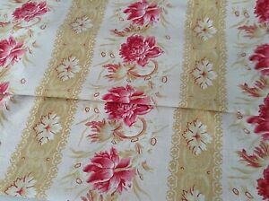 Lovely Antique Vintage French Floral Fabric Printed Cotton Pink Peony Decor