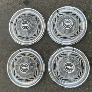 4 Vintage 70 S Chrome Chevrolet 15 Inch Hub Cap Wheel Cover Hubcaps