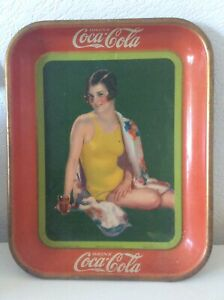 Vintage Coca Cola Coke Serving Tray Sign 1929 Bathing Suit Girl Fountain Sales