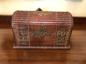 Unique Victorian Oak Trinket Jewelry Table Box With Brass Accents C 1890