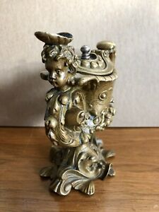 1880 S German Austrian Baroque Renaissance Revival Bronze Oil Lamp Putto Fish
