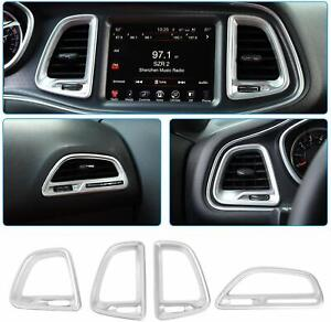 4x Car Air Outlet Vent Cover Ac Decoration Trim For Dodge Challenger 15 Silver