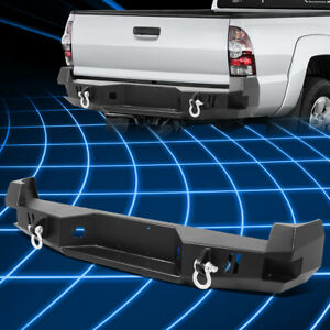 For 05 15 Toyota Tacoma Heavy Duty Steel Rear Step Bumper Face Bar W dual D ring