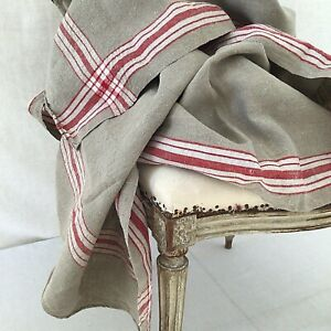 Antique Vintage European Rustic Linen French Red Stripe 32 X 110 Runner Yardage