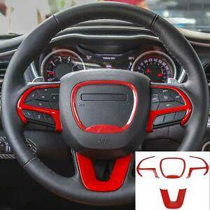 4x Car Steering Wheel Cover Trim Decor Frame Kit For 2015 2020 Dodge Challenger