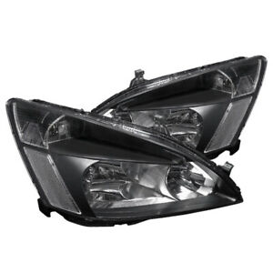 For 2003 2007 Honda Accord Lx Ex 2dr 4dr Pair Black Clear Headlights Lamps