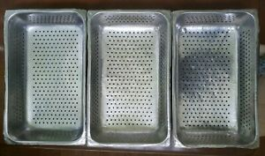 Lot Of 7 Full Size Perforated Stainless Steel Steam Pan Rectangle 4 Deep