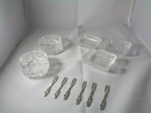 Vintage Lot 5 Crystal Salt Cellars 925 Sterling Silver 6 Mini Fork Pics 2
