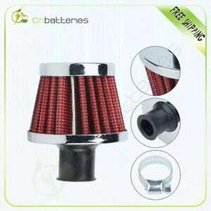 Universal 12mm Crankcase Vent Intake Mini Cone Air Breather Filter Red Chrome