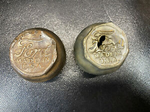2 Vtg Ford Grease Dust Cover Lug Nut Hub Center Cap Cover Made Usa Wheel