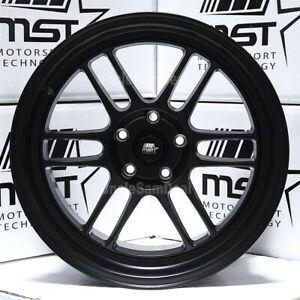 Staggered 5x114 3 18x9 5 18x11 Mst Suzuka Matte Black 12 Spokes Tuner Wheels Set
