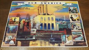 Complete Set Vintage Coca-Cola Our America / Electricity 4 Posters Booklets