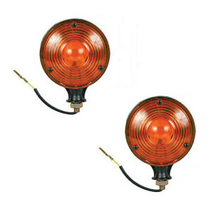 2 Amber Safety Warning Light Pair 12v For Massey Ferguson Tractors